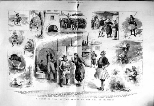old-original-antique-victorian-print-1883-shooting-trip-sea-marmora-hunting-mastica-boars-115tm127