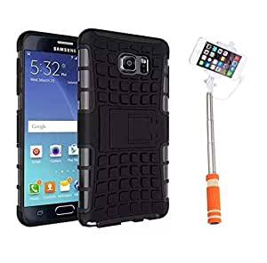Aart Hard Dual Tough Military Grade Defender Series Bumper back case with Flip Kick Stand for Samsung NOTE 2 + Aux Wired Mini Pocket Selfie Stick by Aart store.