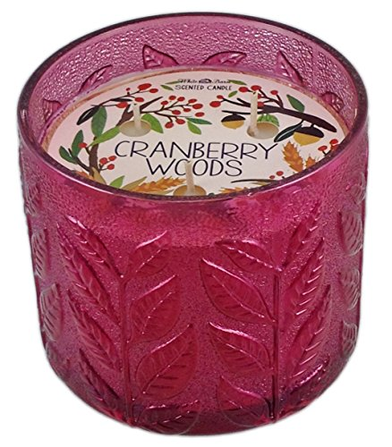 Bath & Body Works Cranberry Woods White Barn Scented Candle 3 Wick 12 Oz Limited Edition 2015 Textured Leaves Glass (Cranberry Woods compare prices)