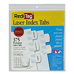 Redi-Tag Laser Printable Index Tabs, Permanent Adhesive, 1-1/8 x 1-1/4 Inches, Bulk Packed, 375 Tabs per Pack, White (39017)