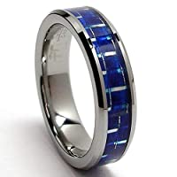 5MM Flat Top Tungsten Carbide Ring Wedding Band W/ Blue Carbon Fiber Inlay Sizes 5 to 8.5