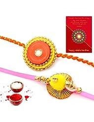 Ethnic Rakhi Designer Floral Pattern Multi-Color Fashionable And Stylish Mauli Thread And Beads Rakhi Set Of 2... - B01IIMEXGS