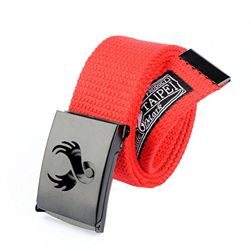Nanxson(TM) unisex Outdoor tactics Canvas flat buckle Belt Leather Inlay multi colors PDM0010 (red)