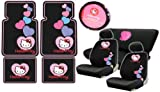 5190w1i7YuL. SL160  Hello Kitty Sanrio Hearts Design Auto Accessories Combo Set   Front &amp; Rear Floor Mats, LOW Back Seat Covers, Steering Wheel Cover and a Bench Seat Cover with Embroidered Outline of Heart Logo