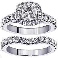 3.00 CT TW Halo Princess Cut Diamond Encrusted Engagement Bridal Set in Platinum by V.I.P. Jewelry Inc.