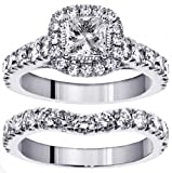 3.00 CT TW Halo Princess Cut Diamond Encrusted Engagement Bridal Set in 14k White Gold