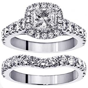 3.00 CT TW Halo Princess Cut Diamond Encrusted Engagement Bridal Set in 14k White Gold - Size 5.5