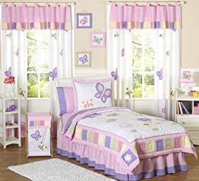 Superb Pink and Purple Butterfly Collection Childrens Bedding pc Twin Set by Sweet Jojo Designs Childrens