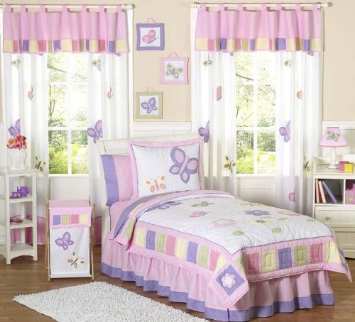 Amazon.com: Pink and Purple Butterfly Collection Children's Bedding3pc Full / Queen Set by Sweet Jojo Designs: Home & Kitchen