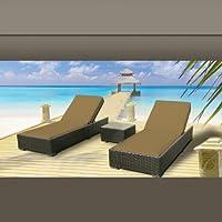 Outdoor Patio Wicker Furniture 3 Pc Chaise Lounge Set DARK BEIGE from Luxxella