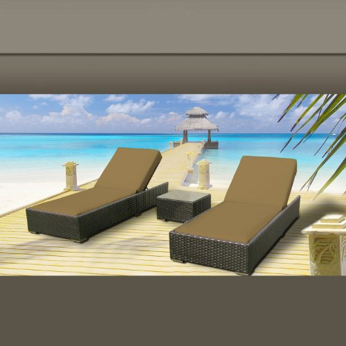 Outdoor Patio Wicker Furniture 3 Pc Chaise Lounge Set DARK BEIGE photo