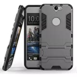 Heartly Graphic Designed Stand Hard Dual Rugged Armor Hybrid Bumper Back Case Cover For HTC One A9 - Metal Grey