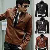 Fashion décoration de bouton de manteau hommes veste en cuir PU