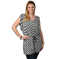 Brinley Co. Womens Contemporary Plus Striped V-neck Tunic Top