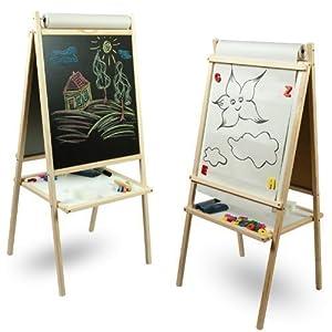 toys4u tableau en bois pour enfant 2 faces noir et blanc avec rouleau de papier. Black Bedroom Furniture Sets. Home Design Ideas
