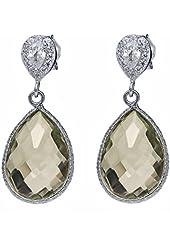 13.00 Ct Green Amethyst Pear Shape 925 Sterling Silver Dangle Earrings