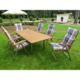 13-teilige Luxus Edelstahl Akazien Gartenmöbelgruppe