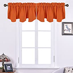 Nicetown Blackout 52 by 18-inch Scalloped Valance Curtain Panel, Orange
