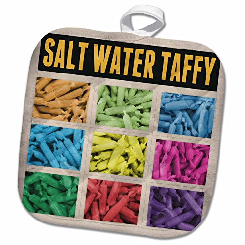 3dRose Perkins Designs Graphic Design - Salt Water Taffy - whimsical graphic design of salt water taffy candy in a colorful grid - 8x8 Potholder (phl_120321_1) (Salt Water Taffy Machine compare prices)