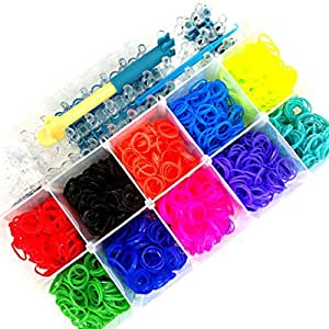 Loom Band Kit - Sure Loom Bands - 10 Bright Colors - Starter Kit - Includes Case, Loom and Bands & Hook, Plus S Clips - Step-by-step Tutorial