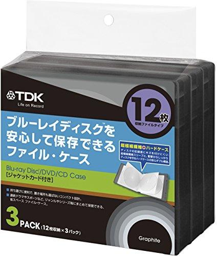 TDK LoR Blu-ray用 ファイルタイプ・ケース 12枚収納X3パック グラファイトカラー CASE-BDF12GR3A