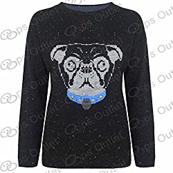 Be Jealous Ladies Sweater Dog Face Knitted Long Sleeves Girls Womens Pullover Jumper Top