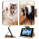 Asus Google Nexus 7 1st Generation Tablet Flip Case young indian woman wearing a gorgeous feather headdress with wolves IMAGE 36963542 by MSD Customized Premium Deluxe Pu Leather generation Accessorie
