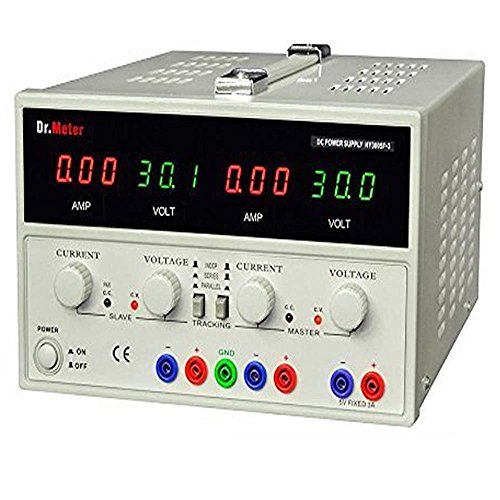 Dr.Meter PS-305DM 30V/5A Single-Output DC Power Supply 110V/220V Switchable, Alligator clip included, US 3-prong Cable (Voltage Supply compare prices)