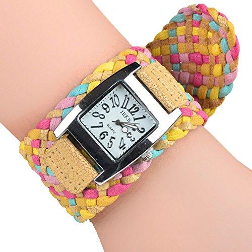 Dayan Antique Candy Color Braided Plaited Rope Strap Wrap Quartz Women Wristwatch Bracelet Brown