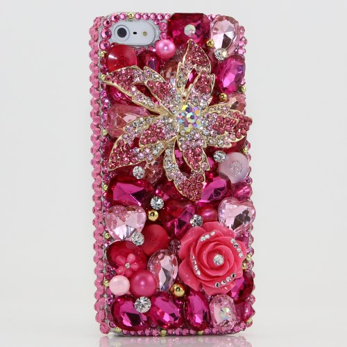Special Sale iphone 5 Luxury 3D Swarovski Diamond Pink Flower Crystal Bling Case Cover AT&T Verizon and Sprint