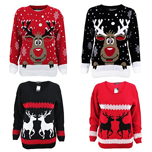 Womens-Mens-Knitted-Rudolph-Reindeer-Xmas-Unisex-Christmas-Novelty-Jumper-UK