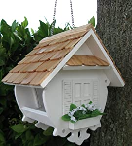 "8"" Fully Functional White Cottage Outdoor Garden Wren Bird Feeder"