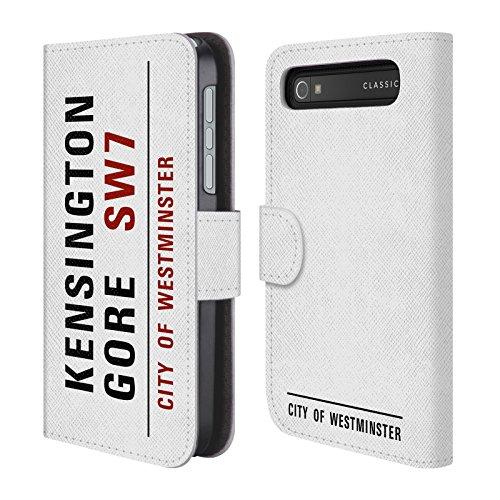 Ufficiale City Of Westminster Kensington Gore Segnali Stradali 2 Cover a portafoglio in pelle per BlackBerry Classic Q20