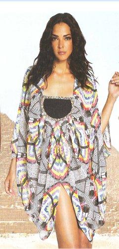 Mara Hoffman bohemian-inpsired multicolored print silk chiffon tunic, Wolf