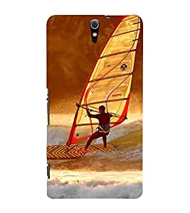 SURFER FACING A WILD OCEAN TIDE 3D Hard Polycarbonate Designer Back Case Cover for Sony Xperia C5 Ultra Dual :: Sony Xperia C5 E5553 E5506 :: Sony Xperia C5 Ultra