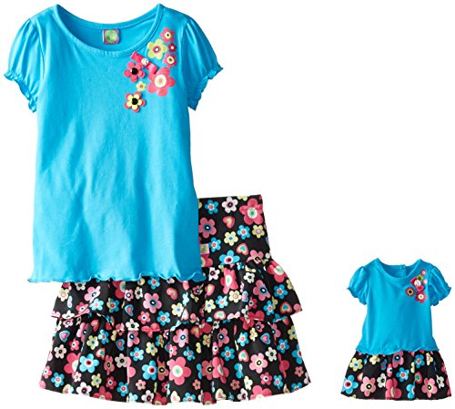 Dollie & Me Big Girls' Floral Ruffle Skirt Set, Black/Turquoise, 10