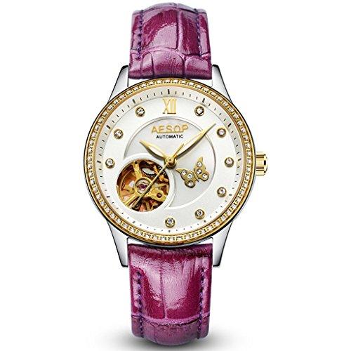 ylily-9009-automatic-mechanical-purple-leather-strap-waterproof-luminous-sport-women-watches