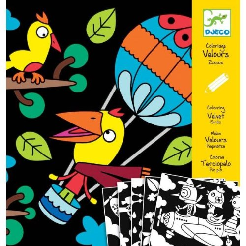 Djeco Velvet Birds Art Set - Coloring Birds