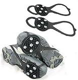 転倒防止 ! フリーサイズ 靴 滑り止め 収納袋 付き AmanoSongオリジナル2点セット (A281) 凍結 雪道 雪山 登山 冬 雪 スパイク 靴底 靴用 ( ブラック )