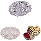 GS MUSEUM Silver Plated Rani Kumkum Plate, Silver Plated 2 RK Dibby Set And Handicraft Diya Shape Chopda