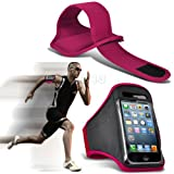 Hot Pink iPhone 5-5s-5c Running Armband Case Cover Holder for Cycling, Jogging, Fitness Training, Boot Camp, Exercise, Sports, Outdoor Activities, Gym Cases Covers and Accessories for New Apple iPhone 5-5s-5c by iChoose®