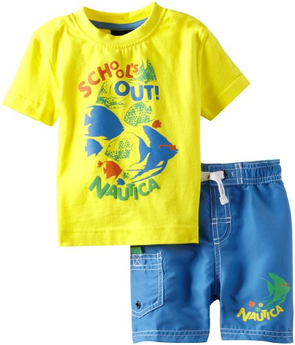 Nautica Baby-Boys Infant 2 Piece Schools Out Swim Set, Firefly, 18 Months back-983867