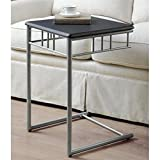 Monarch Specialties Black and Silver Metal Snack/End Table