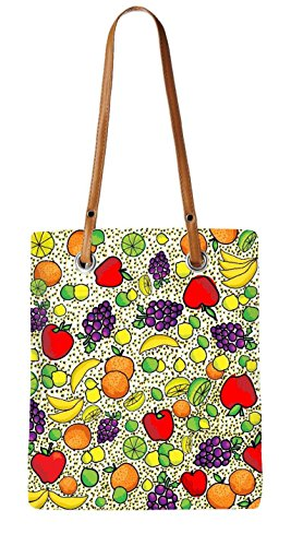 Snoogg Plenty Of Fruits Womens Digitally Printed Utility Tote Bag Handbag Made Of Poly Canvas With Brown Leather Handle (Fruit And Plenty compare prices)