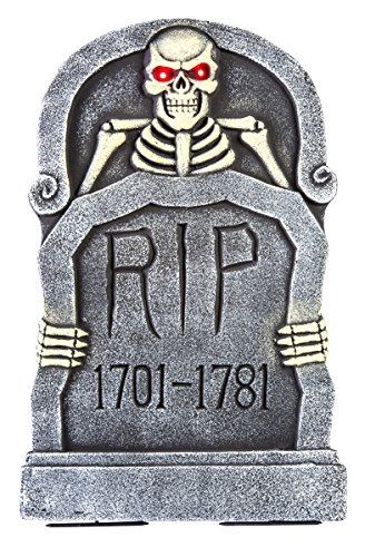 Mechanical Light Up Rising Skeleton Tombstone Decoration Gray