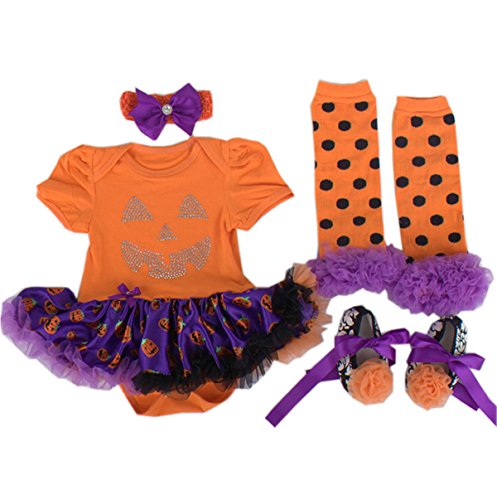 TANZKY® Baby Girls' Halloween Newborn Orange Pumpkin Outfit Tutu Dress 4PCS