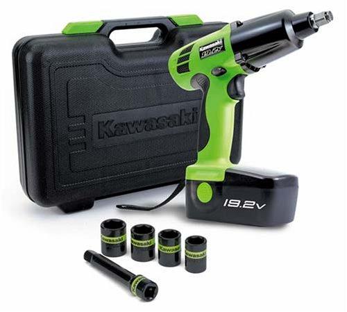 Kawasaki 840074 Green 19 2 Volt 1 2 Inch Cordless Impact Wrench Kit