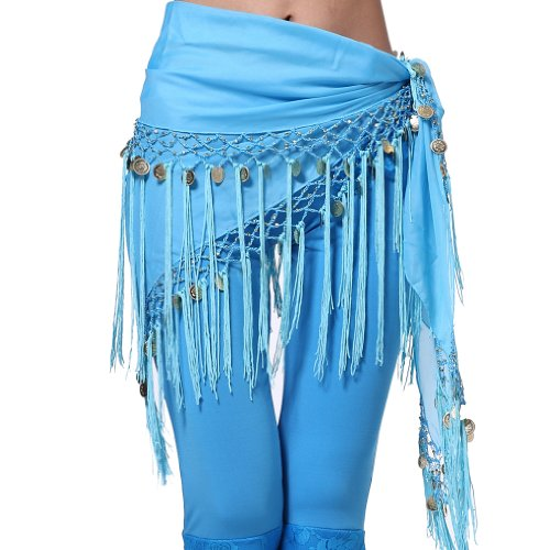 Feimei Women's Belly Dance triangler Hip Scarf With Coins