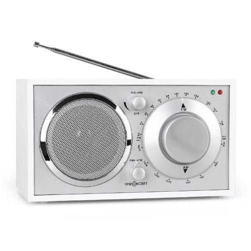 oneConcept Lausanne Nostalgie-Radio Retro Küchenradio Tragbares Radio (UKW/MW-Sendertuner, Breitbandlautsprecher, AUX-Eingang, hochwertige Verarbeitung, Edles Holzfurnier) weiß