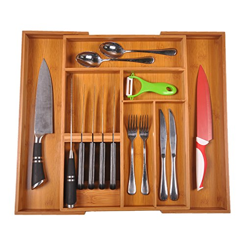 SafeHouseware New Upgrade Expandable Bamboo Kitchen Cutlery Drawer Organizer Build in Knife Holder Totally Bamboo Utensil Tray Silverware Holder